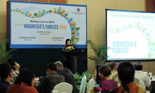 Menteri LHK Siti Nurbaya memaparkan keberhasilan Indonesia mengelola hutan. Foto : http://ppid.menlhk.go.id