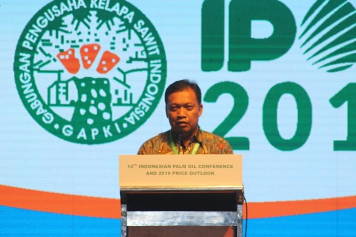 Ketua Umum GAPKI Joko Supriyono menuturkan, Hingga tahun 2018 ini, iklim bisnis industri kelapa sawit di Indonesia masih positif. Foto : Jos/tropis.co