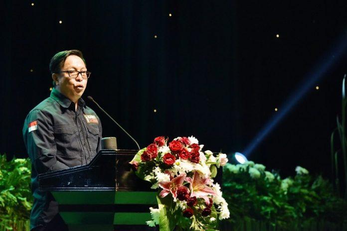 Direktur Jenderal Penegakan Hukum LHK Rasio Ridho Sani memaparkan capaian kinerja Direktorat Jenderal Penegakan Hukum Lingkungan Hidup dan Kehutanan dalam Rakornas. Foto : KLHK