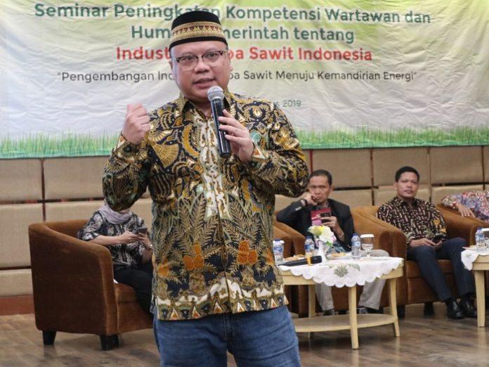 Ketua Bidang Komunikasi Gabungan Pengusaha Kelapa Sawit Indonesia (Gapki) Tofan Mahdi menilai, sektor kelapa sawit sangat prospektif meskipun hambatan dari negara maju semakin berat, seperti dari Uni Eropa (UE). Foto : Gapki
