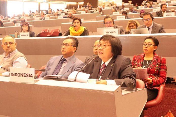 Menteri Lingkungan Hidup dan Kehutanan Siti Nurbaya menyampaikan upaya Indonesia guna menghapus penggunaan merkuri. Foto : KLHK
