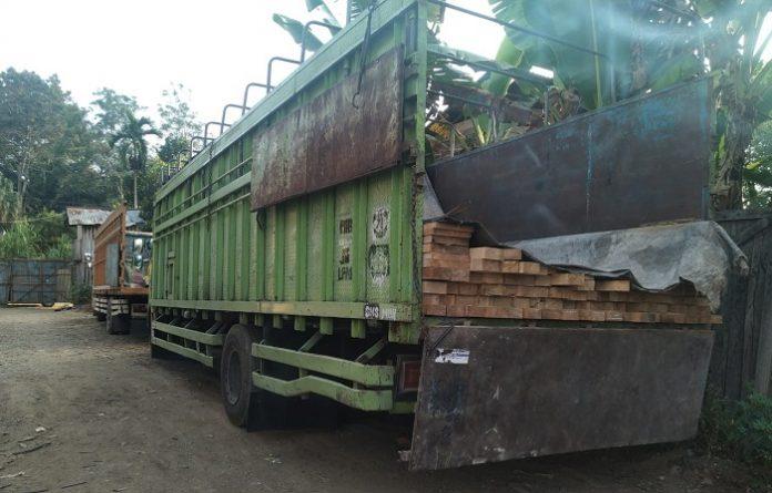 Dari hasil pengembangan, tim mengidentifikasi dua truk itu milik CV SP di Desa Batu Gajah, Kabupaten Muratara dan tim menahan empat orang (supir dan kernet truk) serta truk berisi kayu yang selanjutmya diamankan di Kantor Seksi Wiayah III, Balai Gakkum Wilayah Sumatera. Foto: KLHK