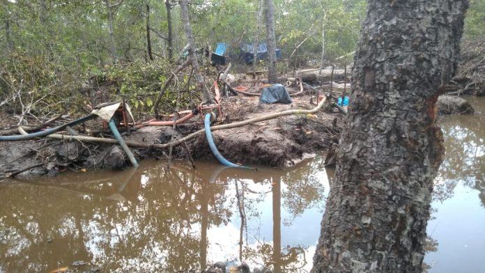 Barang bukti penambangan ilegal di kawasan hutan produksi Mapur. Foto: Istimewa
