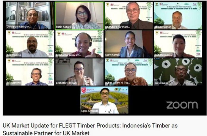 """Webinar """"UK Market Update for FLEGT Timber Product: Indonesia's Timber as Sustainable Partner for UK Market"""" yang digelar pada Selasa (23/9/2020), kepemimipinan Indonesia dalam mendorong ekspor kayu legal dan berkelanjutan melalui penerapan secara nasional Sistem Verifikasi Legalitas Kayu (SVLK) patut dicontoh oleh negara-negara eksportir kayu lainnya. Foto: Kementerian KLHK"""