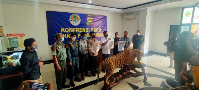 Tim Gabungan Brigade harimau Sumatera, tangkap pedagang opsetan harimau dan gading gajah. Foto: KLHK