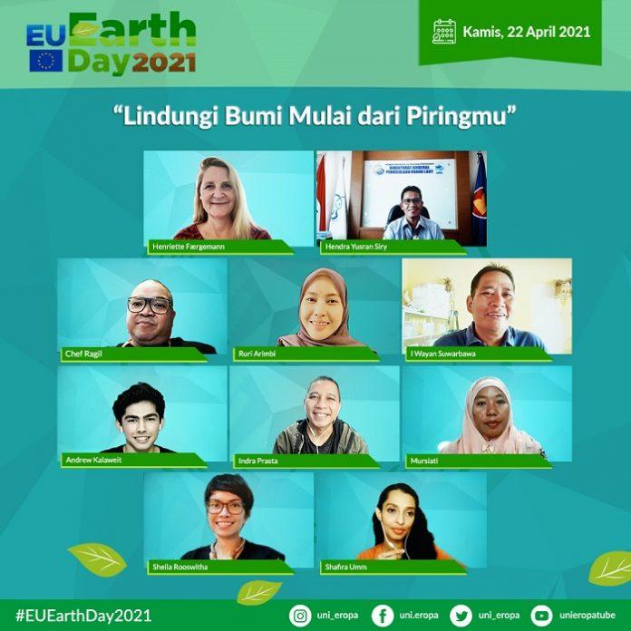 """Para narasumber talk show virtual bertema Lindungi Bumi Mulai dari Piringmu"""" untuk merayakan Hari Bumi. Foto: Uni Eropa"""