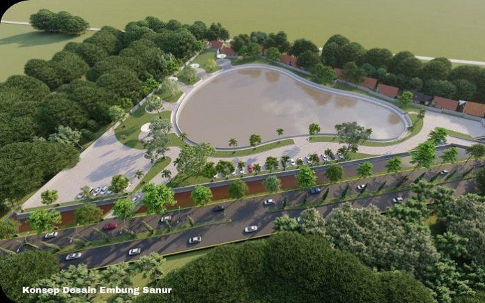 Pembangunan Embung Sanur dilaksanakan diatas lahan Tahura kurang lebih 2,3 hektare dengan luas kolam Embung sebesar 0,96 hektare, dengan kapasitas tampungan 34.500 m3. Foto: Kementerian PUPR