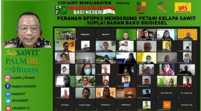 "FGD Sawit Berkelanjutan Vol 8, bertajuk ""Peranan BPDPKS Mendorong Petani Kelapa Sawit Suplai Bahan Baku Biodiesel,"" Kamis (10/6/2021), yang diselenggarakan InfoSAWIT di Jakarta. Foto: InfoSAWIT"