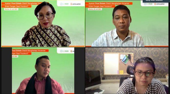 Para narasumber dalam Webinar bertema Apakah Food Estate Efektif Menghadapi Ancaman Krisis Pangan Saat Pandemi? yang digelar pada Kamis (22/7/2021).Foto: Indonesia Communications