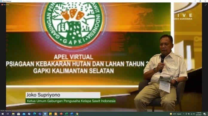 Joko Supriyono, Ketua Umum Gabungan Pengusaha Kelapa Sawit Indonesia (GAPKI), menyatakan bahwa permasalahan Karhutla memang sangat kompleks, banyak sekali faktor penyebab karhutla. Mulai terbukanya akses, banyak lahan gambut, serta pemahaman masyarakat terkait bahaya Karhutla yang masih kurang. Foto: GAPKI