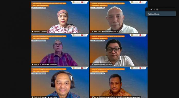 """Webinar Diskusi Media bertema """"Ancaman Tenggelamnya Kota Pesisir Pantai Utara Jawa, Apa Langkah Mitigasinya?"""" Foto: ID COMM"""